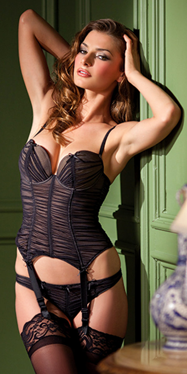 black ruffled bustier with thong sexy womens lingerie