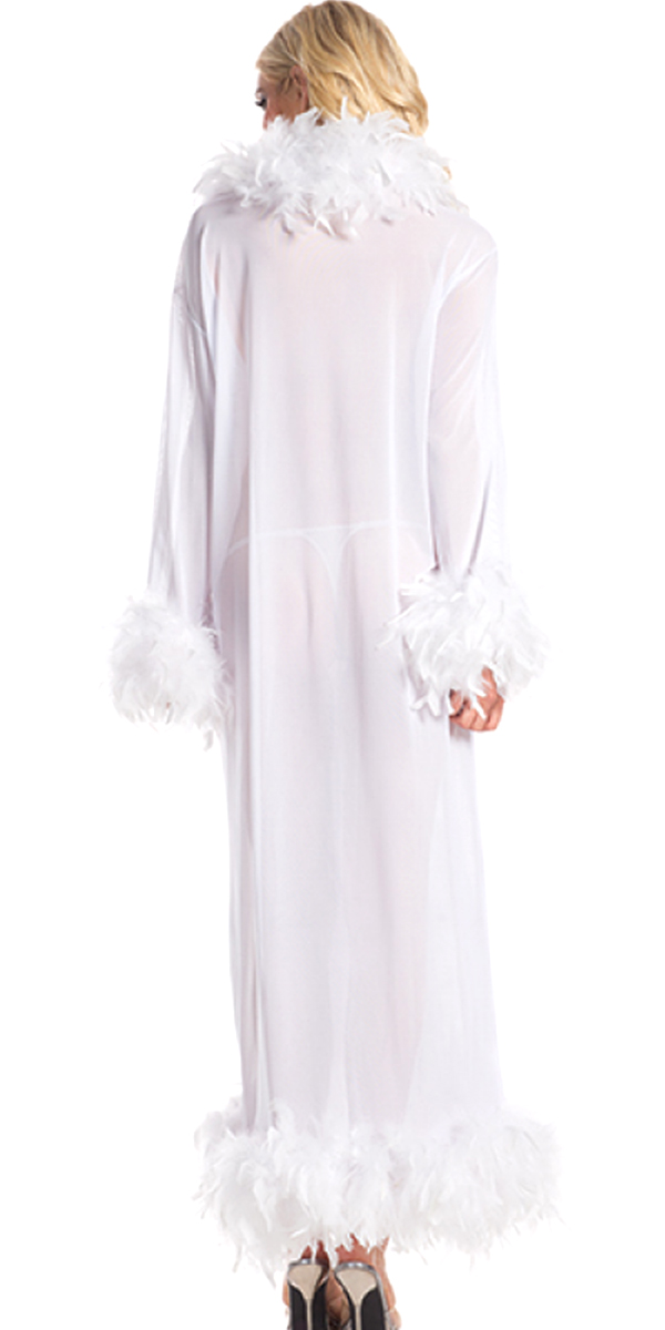 full-length glamour robe with feather trim hot pink sexy womens costumes white