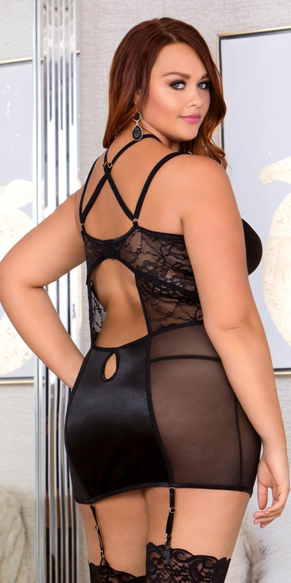 plus size black halter lace paneled chemise sexy women's lingerie