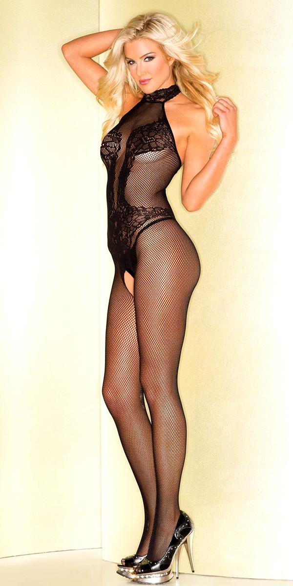 turtleneck black fishnet bodysuit sexy women's bodystockings