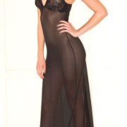 black floral lace cup semi-sheer dress sexy women's nightgowns