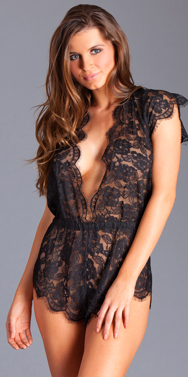 black-long-sleeved-floral-lace-teddy-with-cut-out-sides sexy women's lingerie