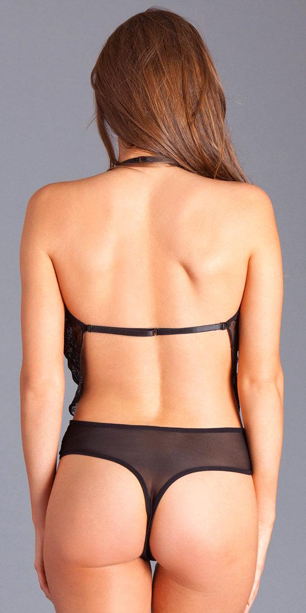 black deep plunge lace revealing teddy sexy women's lingerie