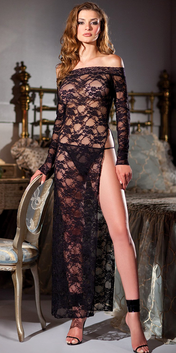 black floral lace full length nightgown with g-string
