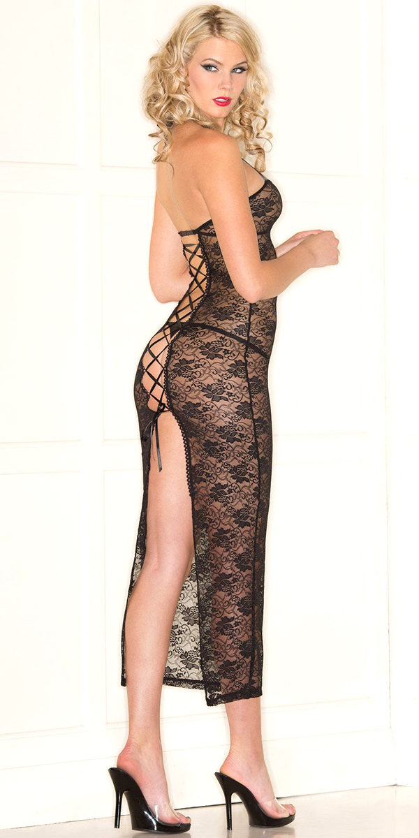 black lace halter dress with thong sexy women's lingerie