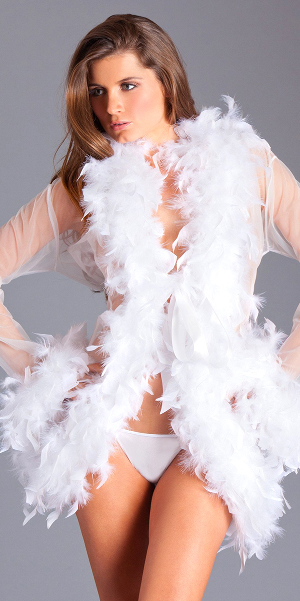 knee-length glamour robe with feather trim sexy women's costumes