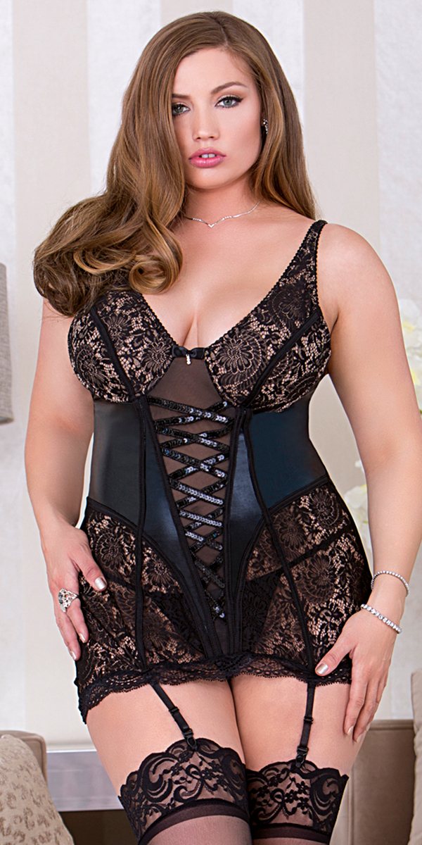 plus size black lace chemise with tie up front and open back sexy women's lingerie