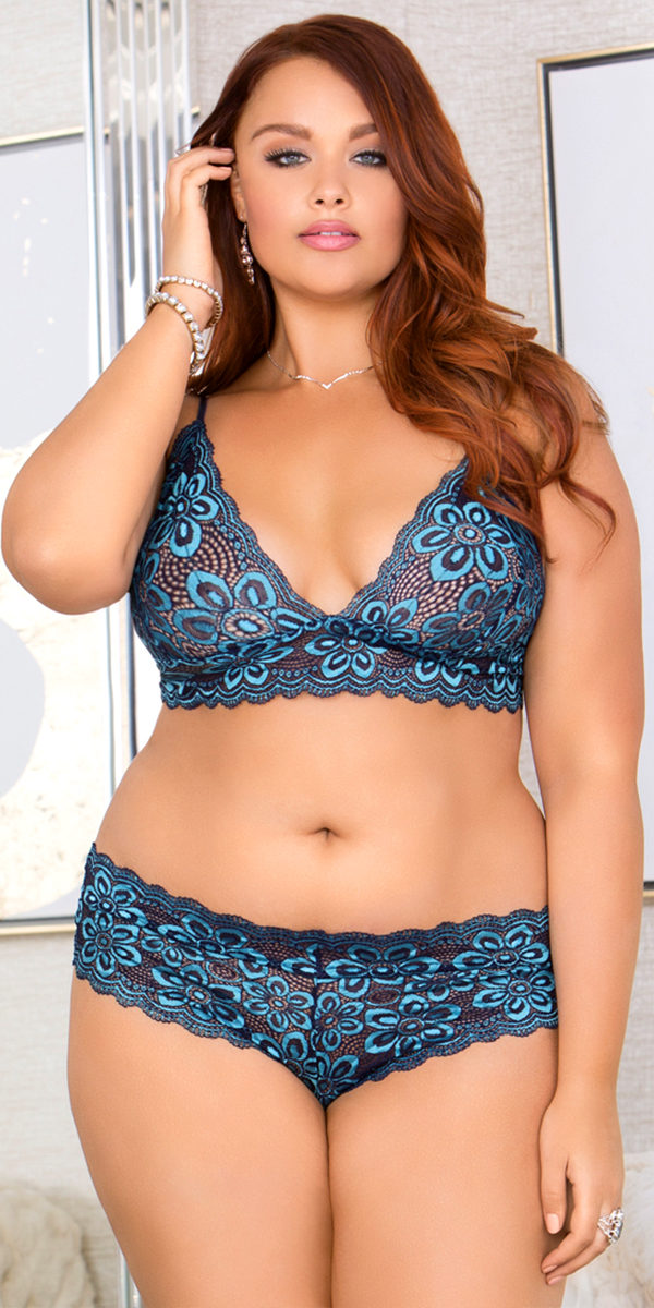 ddca5ff114dde plus size blue cross dyed lace bralette with panty set sexy women s lingerie