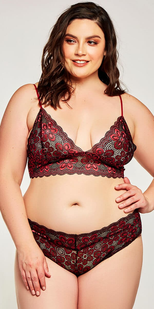 plus size red cross dyed lace bralette with panty set sexy women's intimates