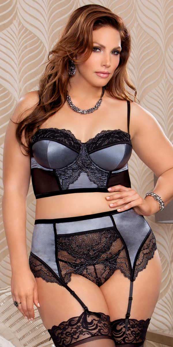 plus size satin lace bra with garter belt and g-string grey sexy women's lingerie