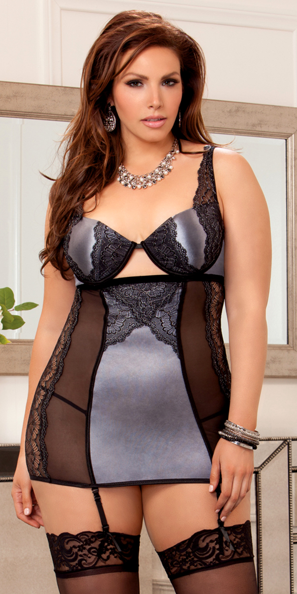 plus size scallop lace mesh chemise with g-string grey sexy women's lingerie