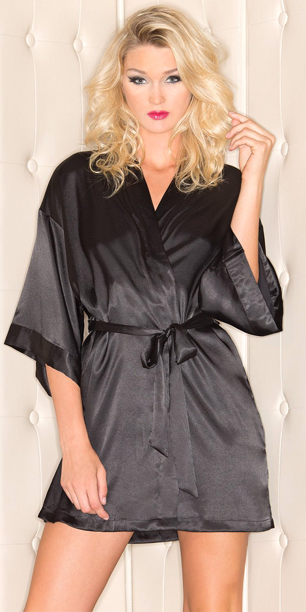 short sleeve satin robe sexy women's lingerie
