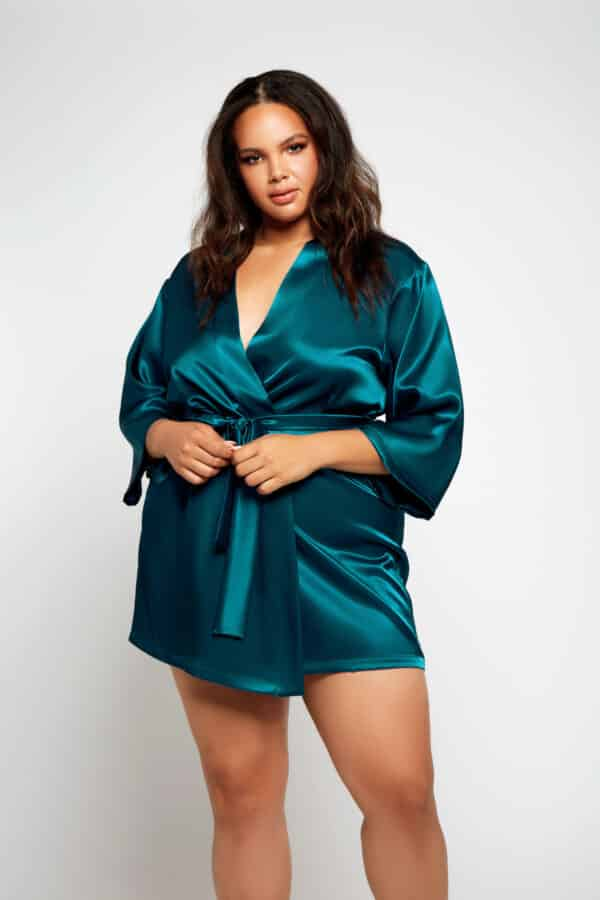 Plus Size 3/4 Sleeve Satin Robe