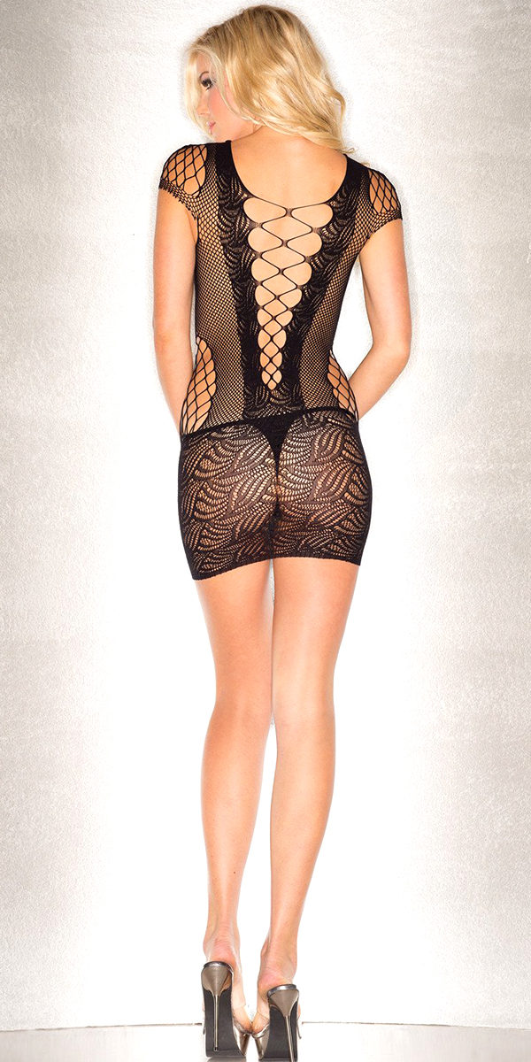 black abstract patterned mini dress bodysuit sexy women's nightdresses