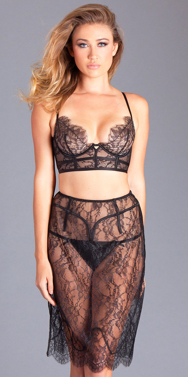 black eyelash lace see-through bra and skirt sexy women's lingerie