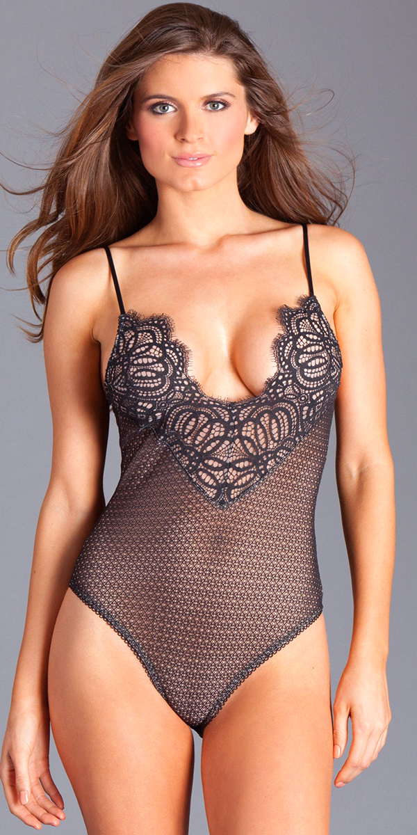 black eyelash bust lace teddy sexy women's lingerie