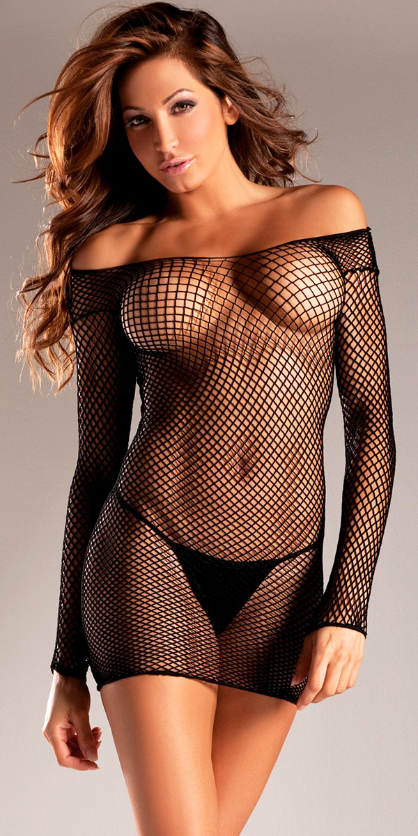 black fishnet see-through nylon dress sexy women's nightdresses