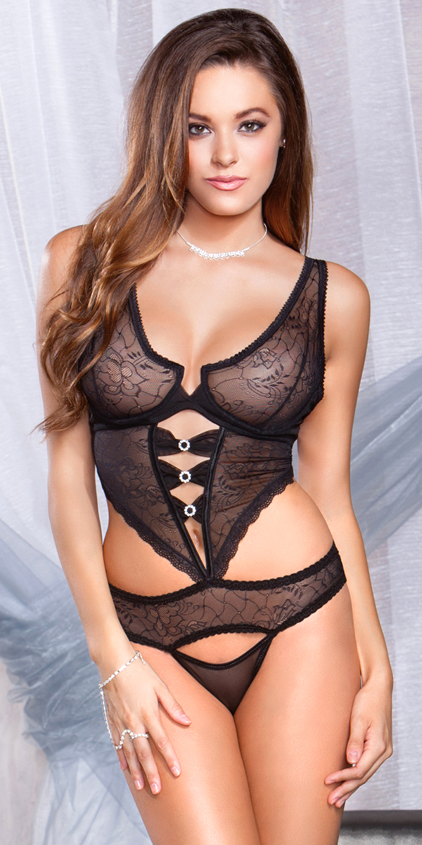 black floral jacquard mesh cut-out teddy sexy women's lingerie
