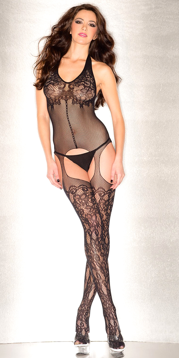 black floral mesh fishnet bodystocking sexy women's hosiery