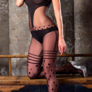 black halter top bodystocking with geometric patterns sexy women's lingerie