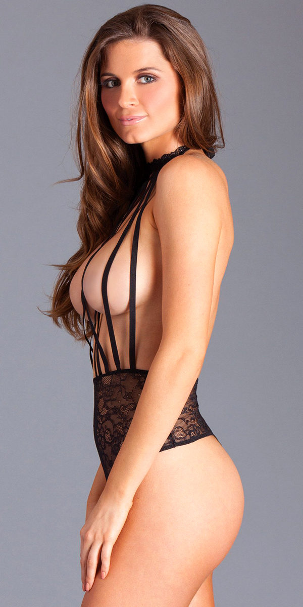 black lace topless teddy with halter straps sexy women's lingerie