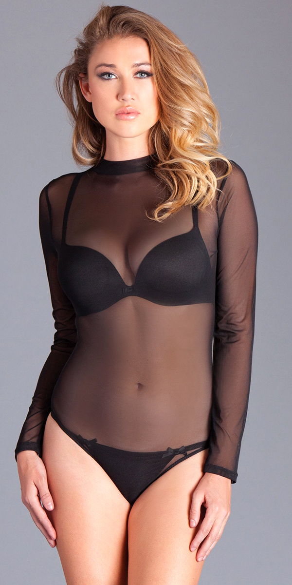 black long sleeve mesh black bodysuit sexy women's hosiery