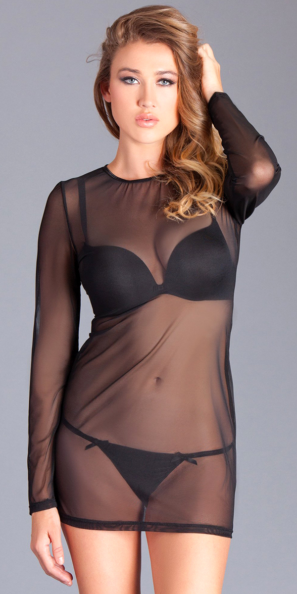 black long sleeve see-through mesh dress sexy women's nightwear