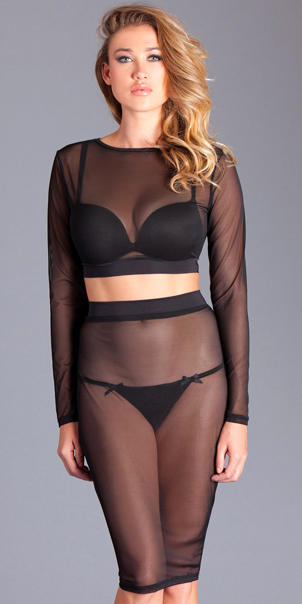 black mesh see-through top and skirt sexy women's hosiery