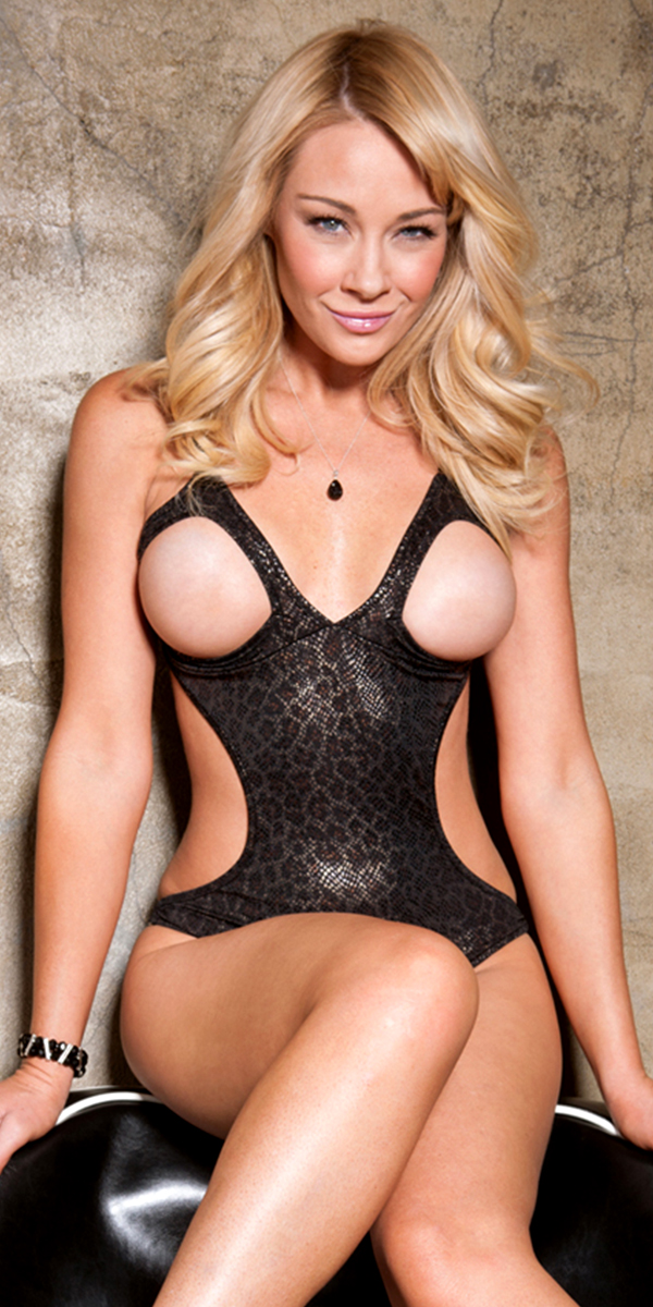 black metallic snake print monokini teddy with open cups sexy women's lingerie