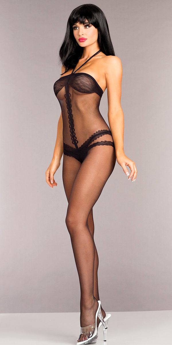 black opaque halterneck crotchless bodystocking sexy women's hosiery