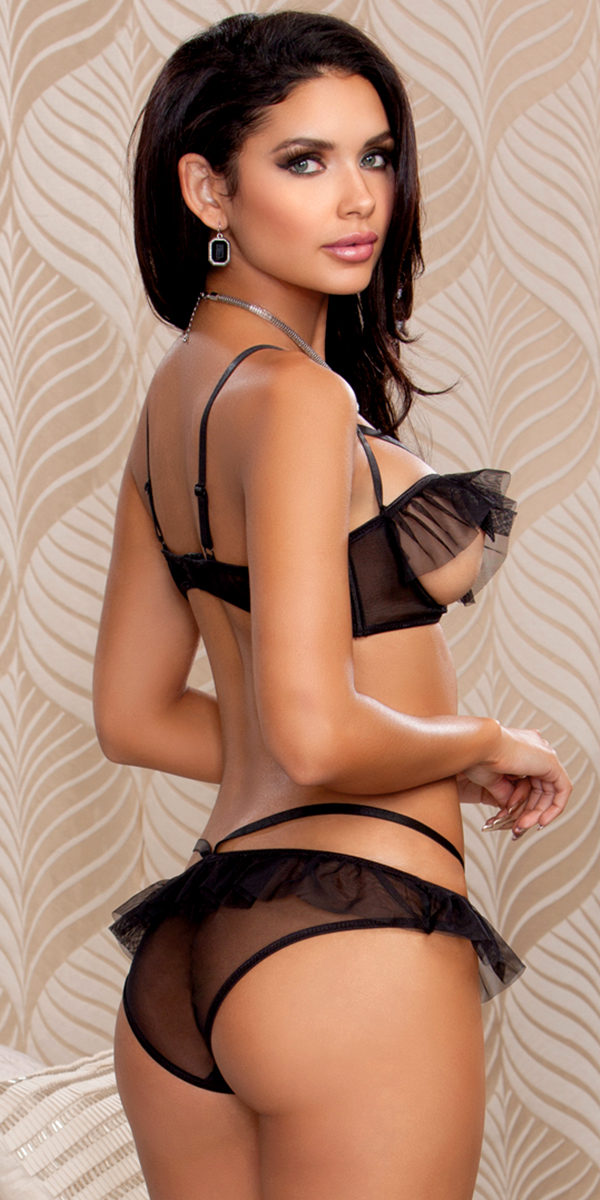 black open breast ruffled bra and panty set sexy women's lingerie