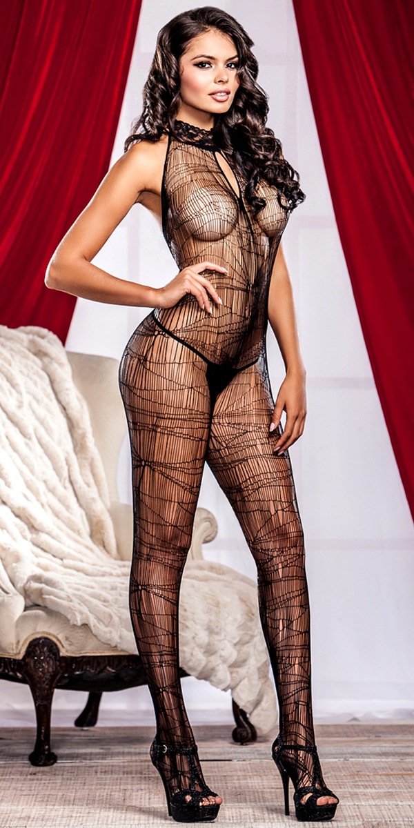 black spider web bodystocking sexy women's hosiery