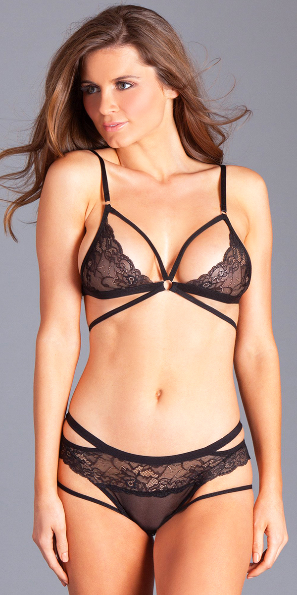 black strappy lace cupped bra set sexy women's intimates