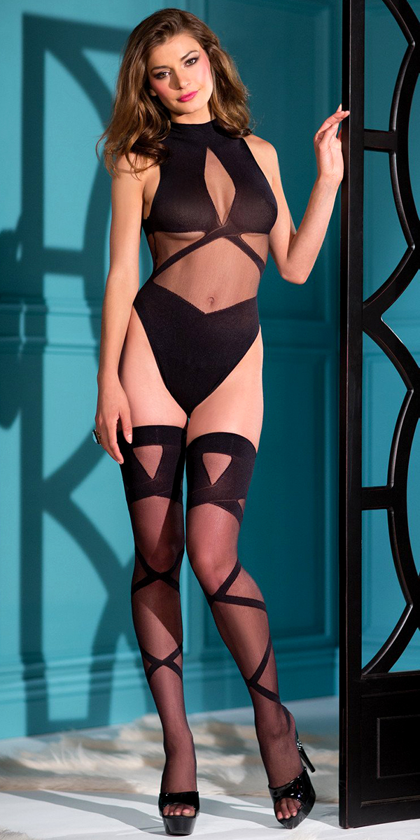 black strappy teddy bodystocking with thigh-highs sexy women's hosiery