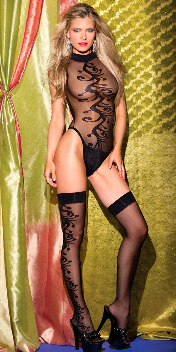 black swirl pattern teddy bodystocking with matching stockings sexy women's hosiery