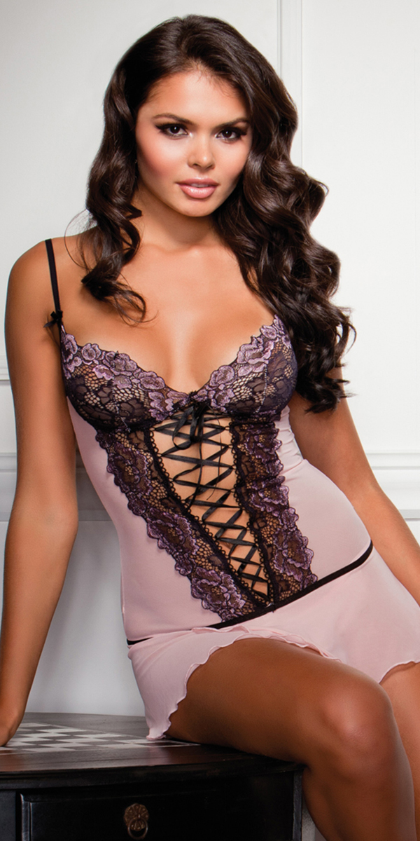 cross-dye lace and flutter hem chemise with g-string sexy women's lingerie