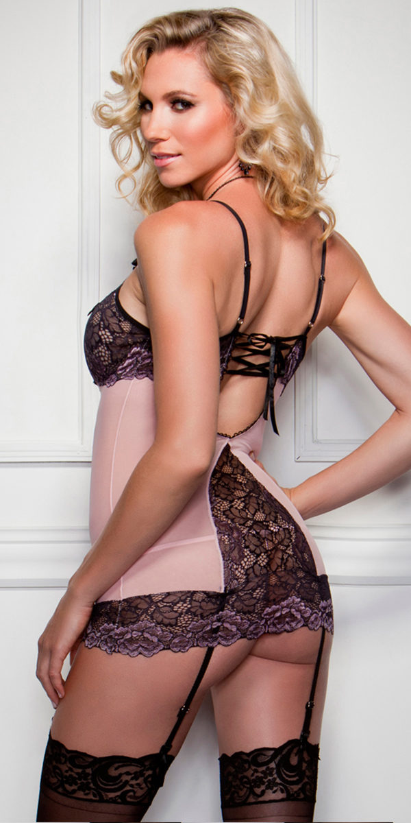 cross-dye lace peek-a-boo cup chemise with g-string sexy women's lingerie