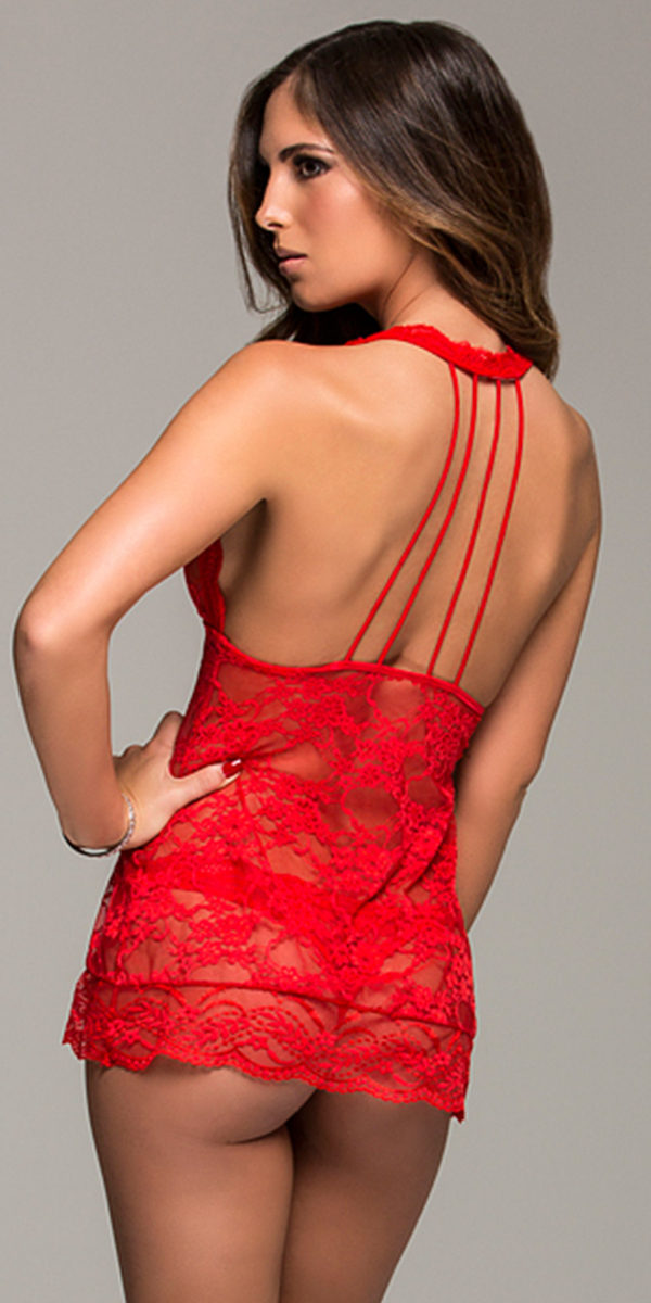 floral stretch lace halter chemise with thong sexy women's lingerie