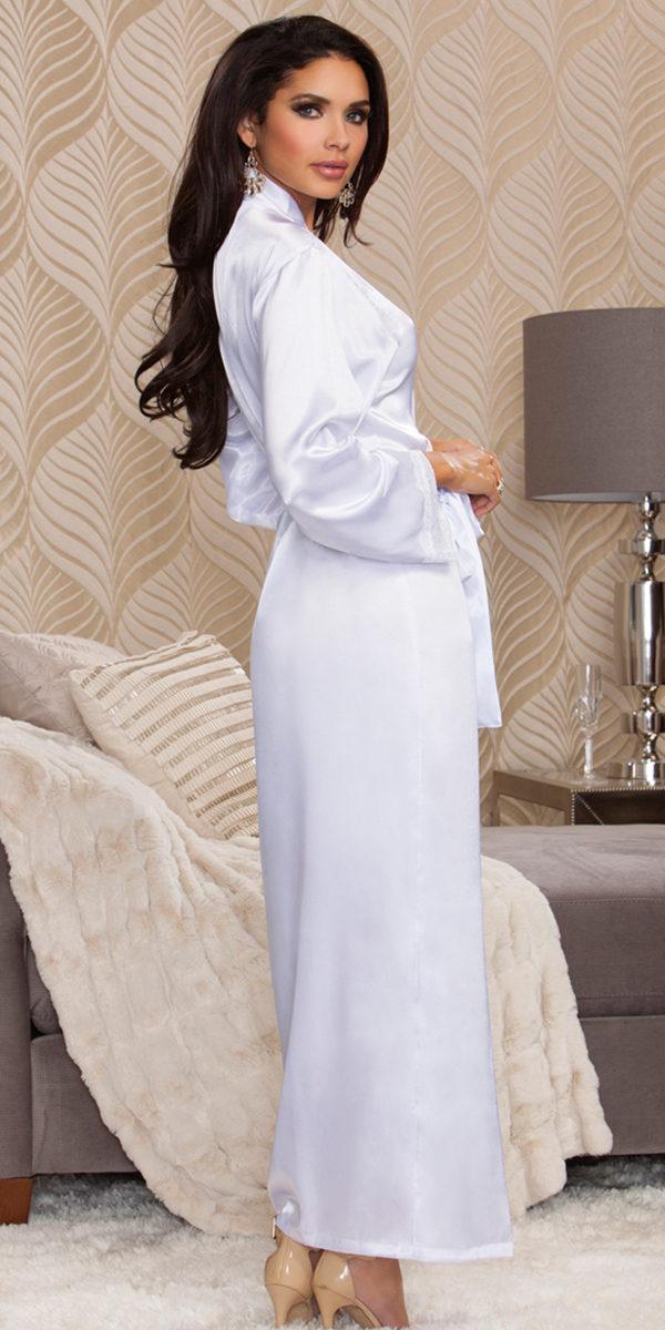 long satin robe sexy women's sleepwear