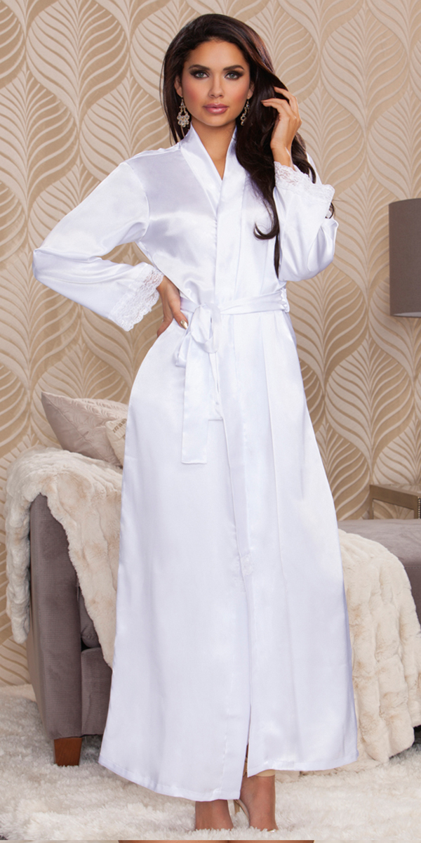 long satin robe sexy women's sleepwear