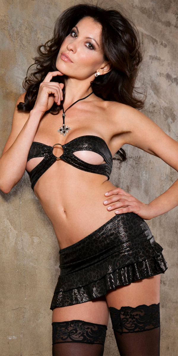 metallic snake print peek-a-boo bandeau set with mini skirt sexy women's intimates