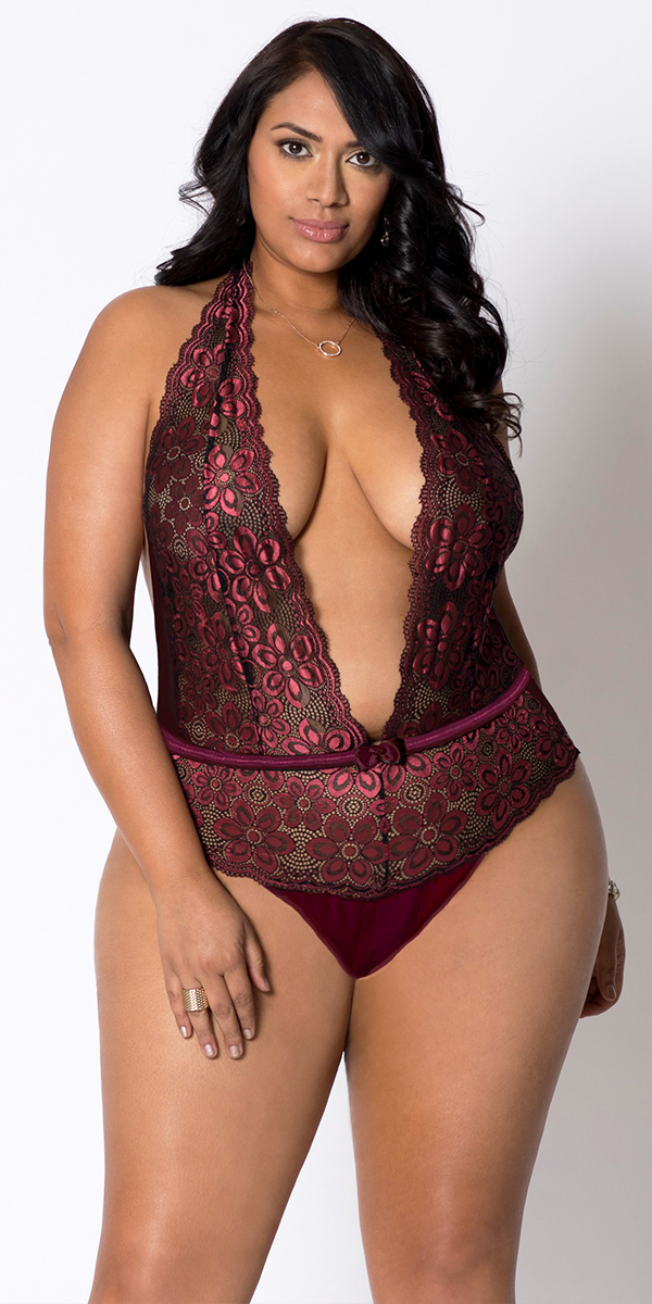 plus size wine allover lace halter teddy sexy women's lingerie