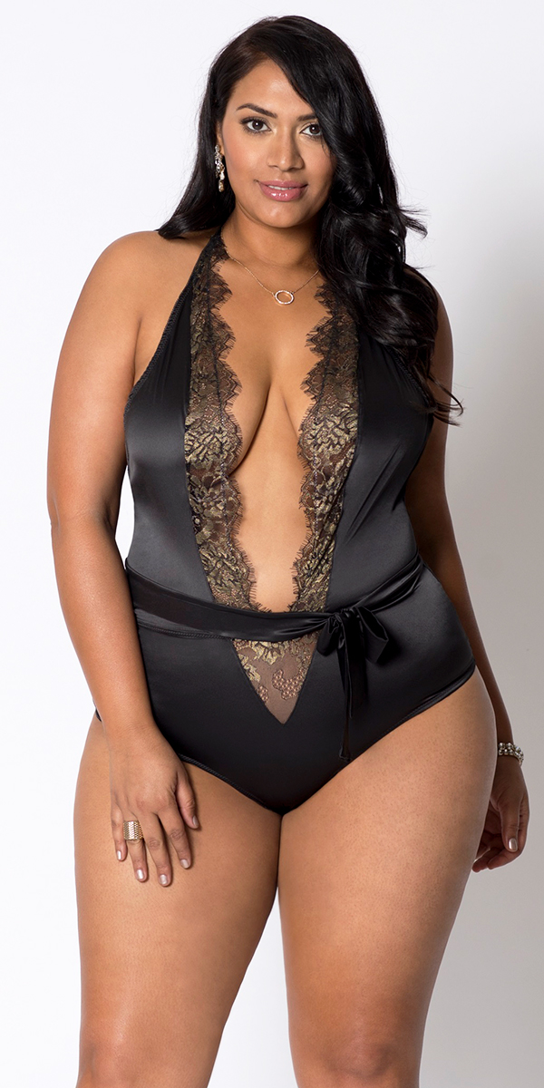 plus size black and gold lace satin teddy with self waist tie sexy women's lingerie