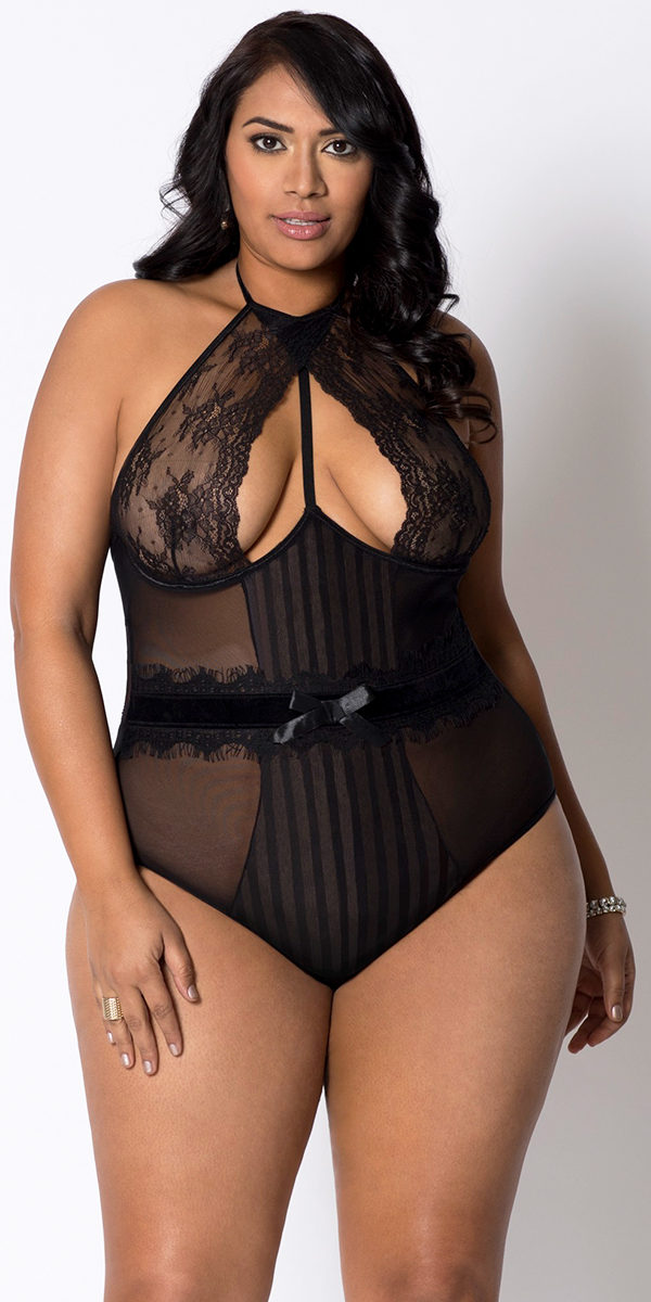 plus size black open chest lace stripe mesh teddy sexy women's lingerie