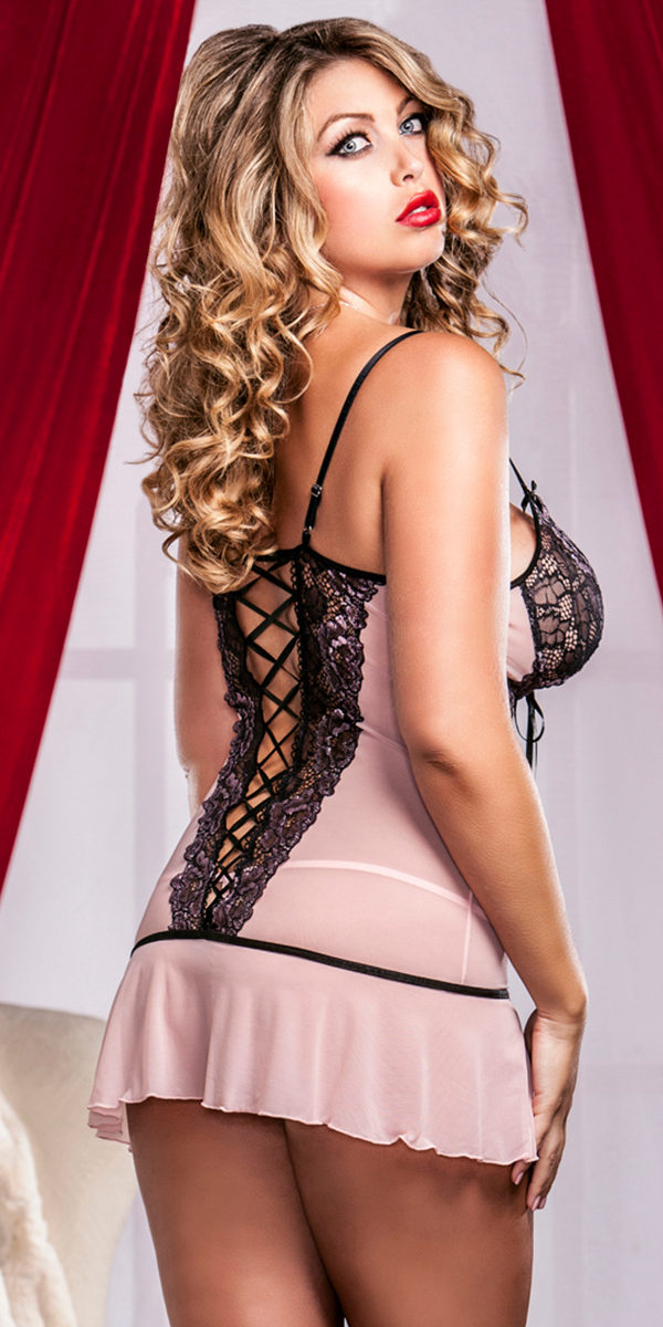 plus size cross-dye lace and flutter hem chemise with g-string sexy women's lingerie
