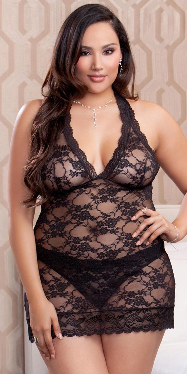 plus size floral stretch lace halter chemise with thong sexy women's lingerie