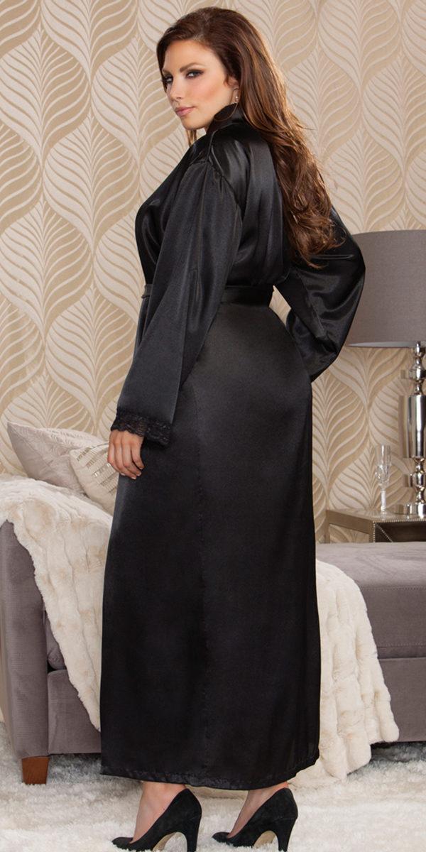 plus size long satin robe sexy women's sleepwear