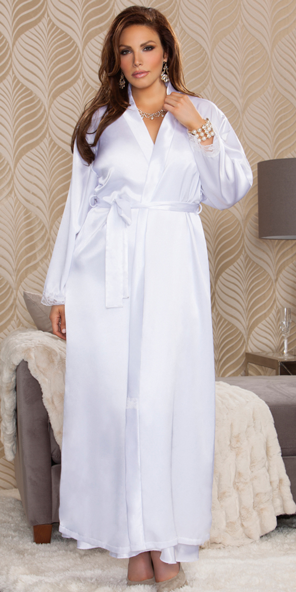 plus size long satin robe sexy women's sleepwear