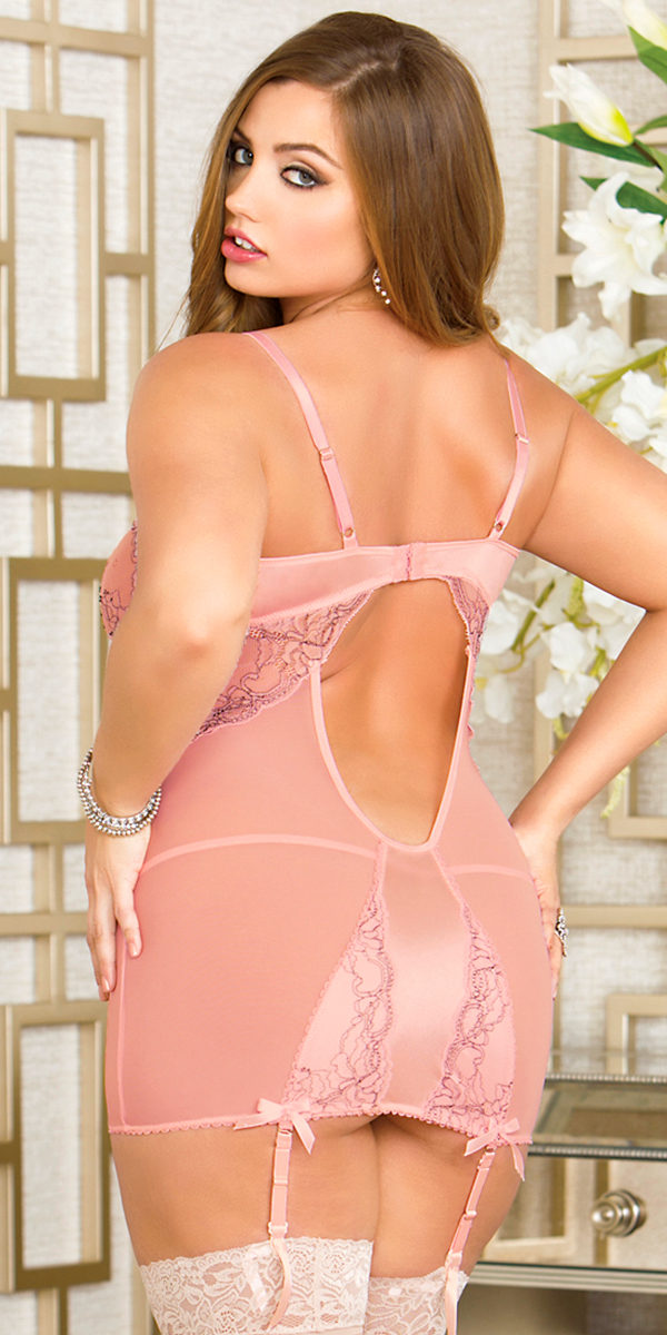plus size pink cross-dye lace mesh chemise with g-string sexy women's lingerie