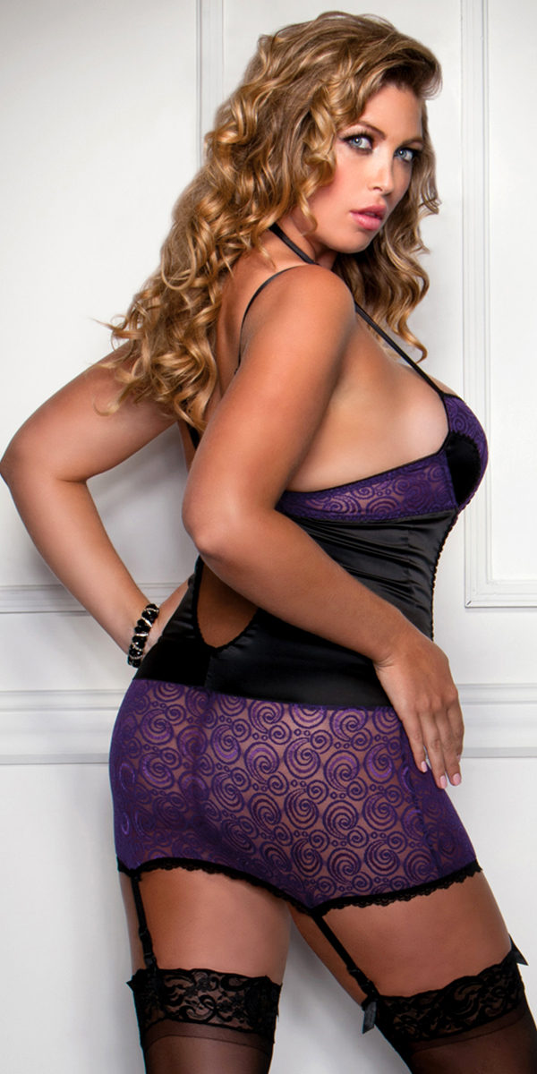 plus size purple swirl lace and black satin chemise with g-string sexy women's lingerie full figure
